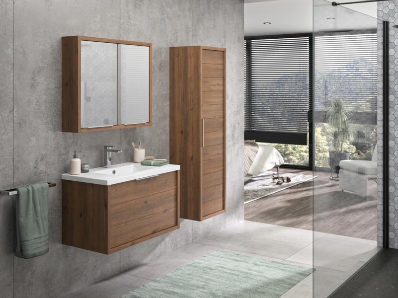 Allibert Sorento meuble lavabo 80cm 2 tiroirs chêne cognac