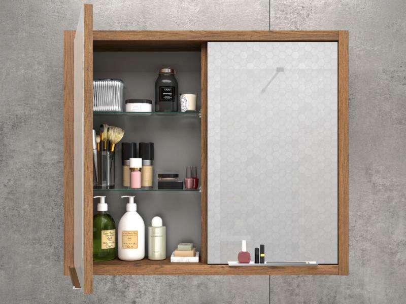 Allibert Sorento spiegelkast 80cm 2 deuren eik cognac