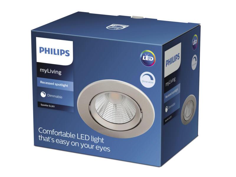 Philips Sparkle LED inbouwspot reflector 5W dimbaar nikkel grijs