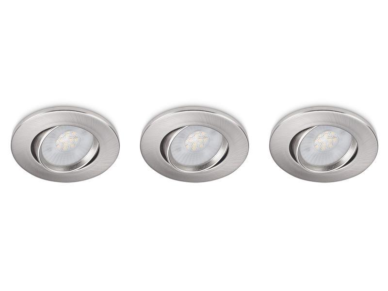 Prolight Spot LED encastrable 3W nickel 3 pieces