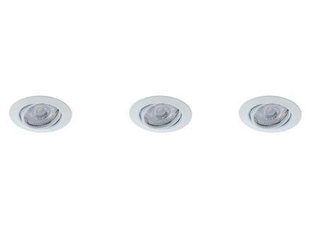 Prolight Spot LED encastrable GU10 3W orientable blanc 3 pièces