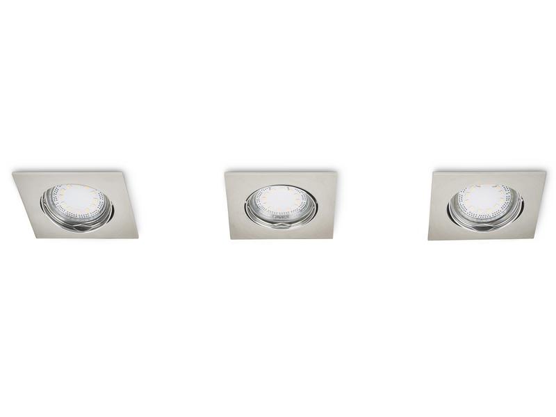 Prolight Spot LED encastrable carré GU10 3W orientable nickel 3 pièces