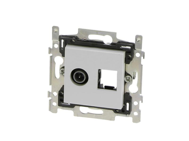 Niko Stopcontact Coax+RJ45 Original wit
