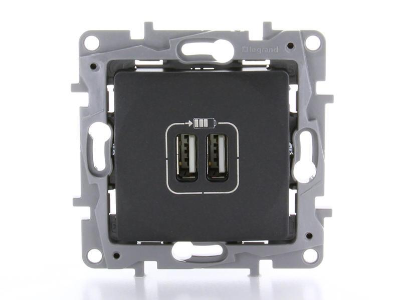 Legrand Stopcontact Niloé met 2 USB-laders anthracite