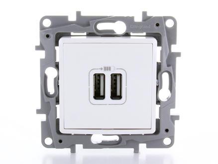 Legrand Stopcontact Niloé met 2 USB-laders wit