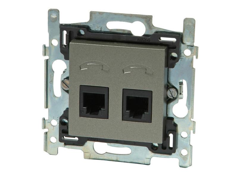 Niko Stopcontact TEL 2xRJ11 Intense bronze
