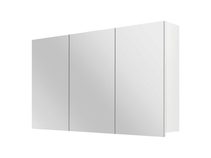 Style armoire de toilette 100cm 3 portes miroir blanc mat