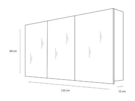 Style armoire de toilette 120cm 3 portes miroir blanc mat
