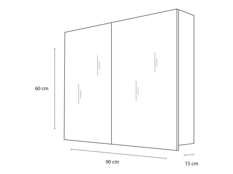 Style armoire de toilette 90cm 2 portes miroir blanc mat