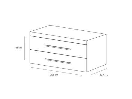 Style meuble lave-mains 100cm 2 tiroirs blanc mat