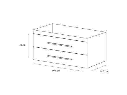 Style meuble lave-mains 100cm 2 tiroirs chêne gris