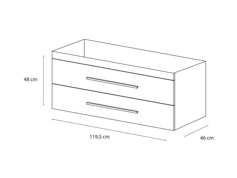 Style meuble lave-mains 120cm 2 tiroirs blanc mat