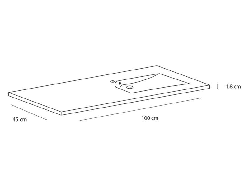 Style wastafel inbouw assymetrisch rechts 100cm polybeton