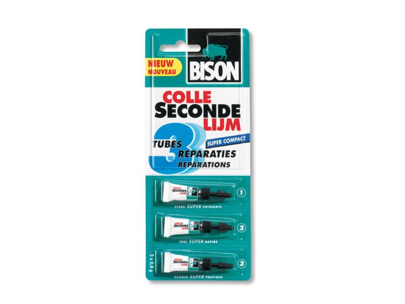 Bison Super colle seconde 3x0,8 g transparent