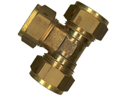 Saninstal T-stuk knelkoppeling 10mm messing