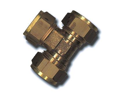 Saninstal T-stuk knelkoppeling 8mm messing