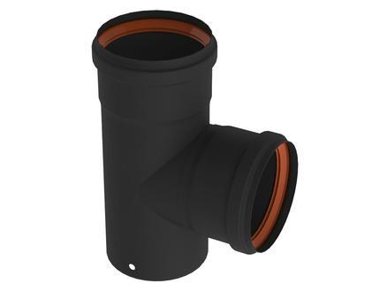 Saninstal T-stuk voor pelletkachel 90° 80mm zwart