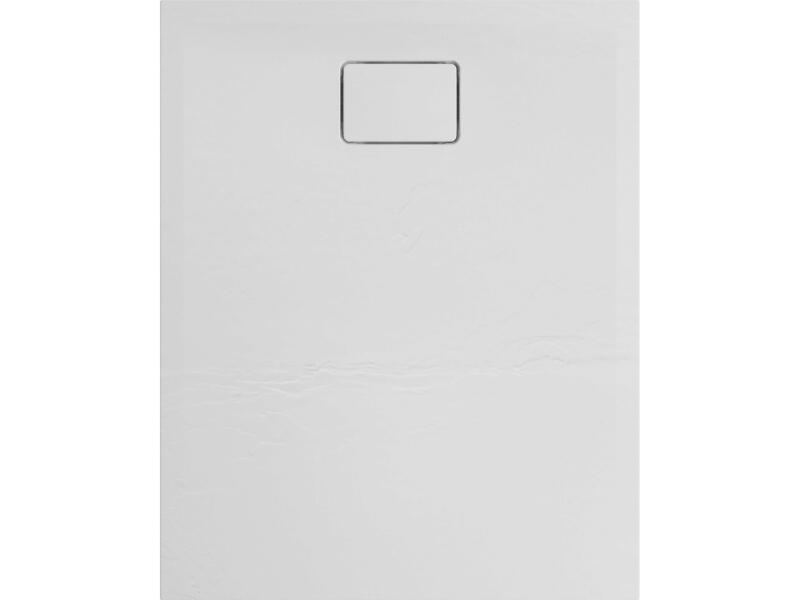 Allibert Terreno douchebak 100x80 cm polybeton quartz wit