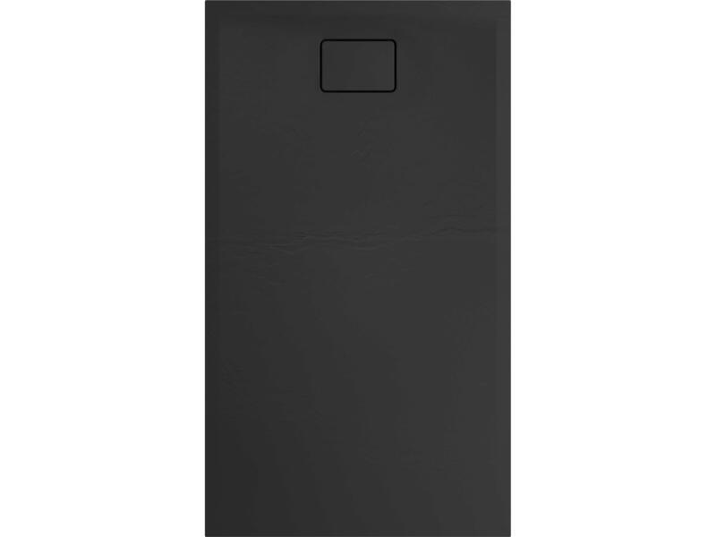 Allibert Terreno douchebak 140x80 cm polybeton basalt zwart