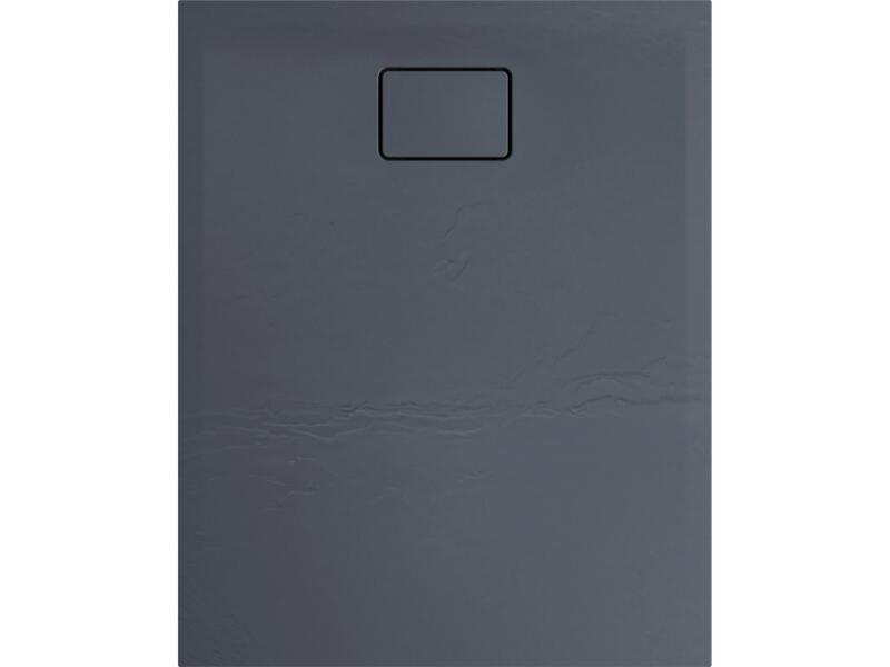 Allibert Terreno receveur de douche 100x80 cm polybéton gris silex