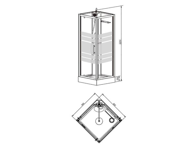 Thermo cabine de douche complète 80x80 cm
