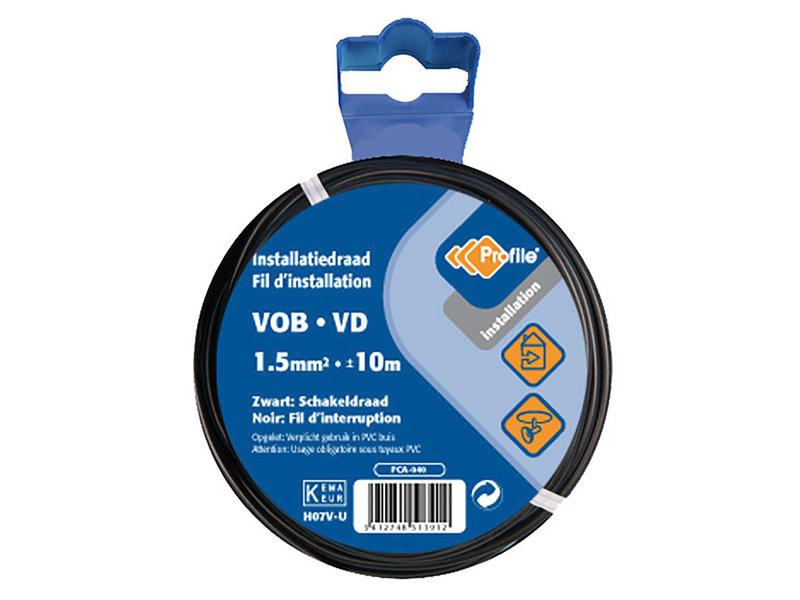 Profile VOB-kabel 1,5 zwart 10m blister