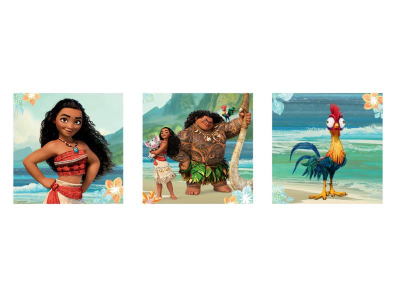 Disney Vaiana toile imprimée 30x30 cm 3 pièces