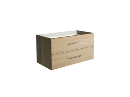 Allibert Verone meuble lavabo 90cm 2 tiroirs chêne foncé
