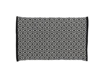 Differnz Wales badmat 80x50 cm zwart/wit