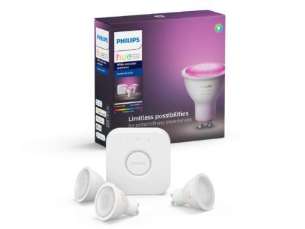Philips Hue White & Color Ambiance starterkit LED spot GU10 6,5W dimbaar 3 stuks