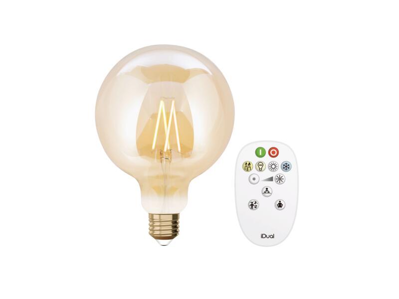 iDual White G125 ampoule LED globe filament E27 9W dimmable ambre + télécommande