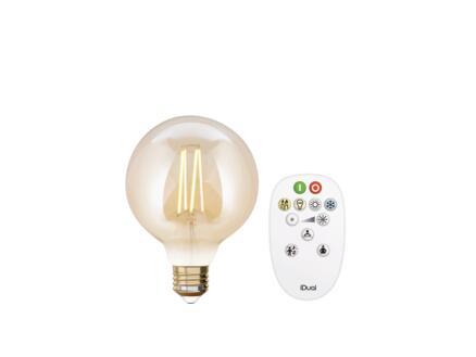 iDual White G95 ampoule LED globe filament E27 9W dimmable ambre + télécommande