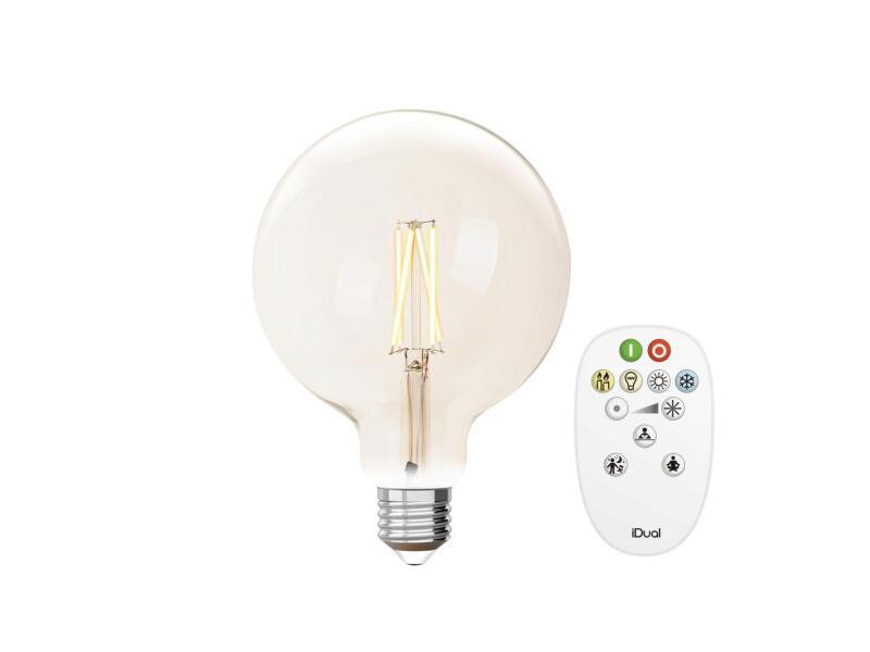 iDual White ST64 LED bollamp filament E27 9W dimbaar helder + afstandsbediening