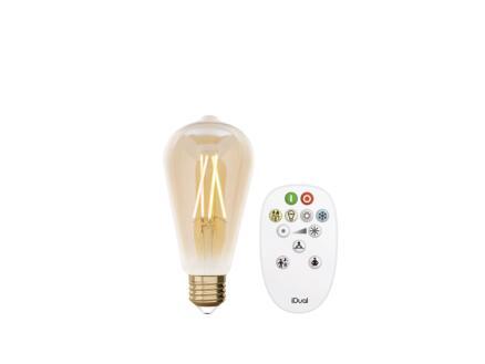 iDual White ampoule LED Edison filament E27 9W dimmable ambre + télécommande