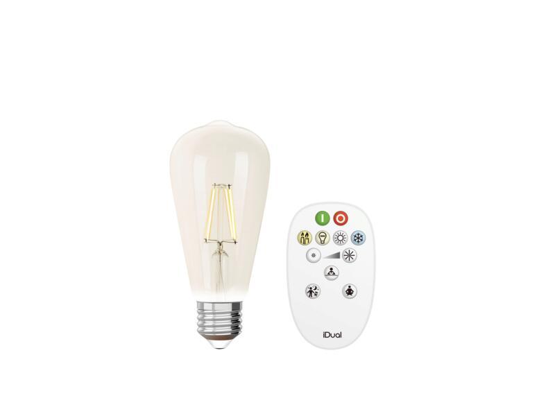 iDual White ampoule LED Edison filament E27 9W dimmable clair + télécommande