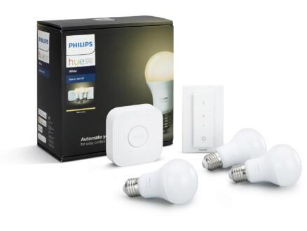 Philips Hue White starterkit LED peerlamp E27 9W dimbaar 3 stuks