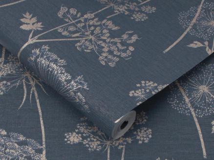 Wild Flower papier peint intissé 52cm 10,05m bleu