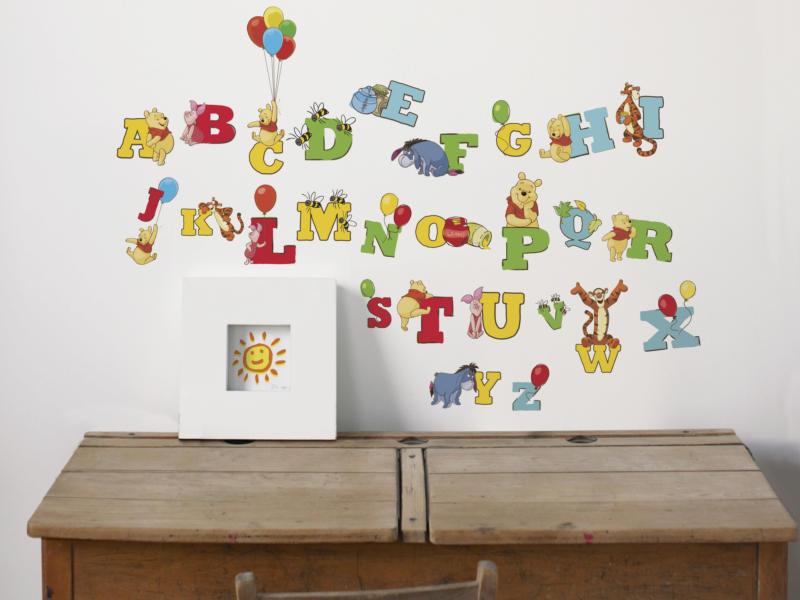 Disney Winnie de Poeh muurstickers alfabet meerkleurig