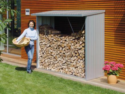 Biohort WoodStock 230 abri bûches 229x102x199 cm argent métallique