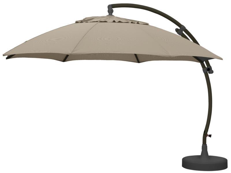Easysun XL zweefparasol 3,75m olefin licht taupe + voet