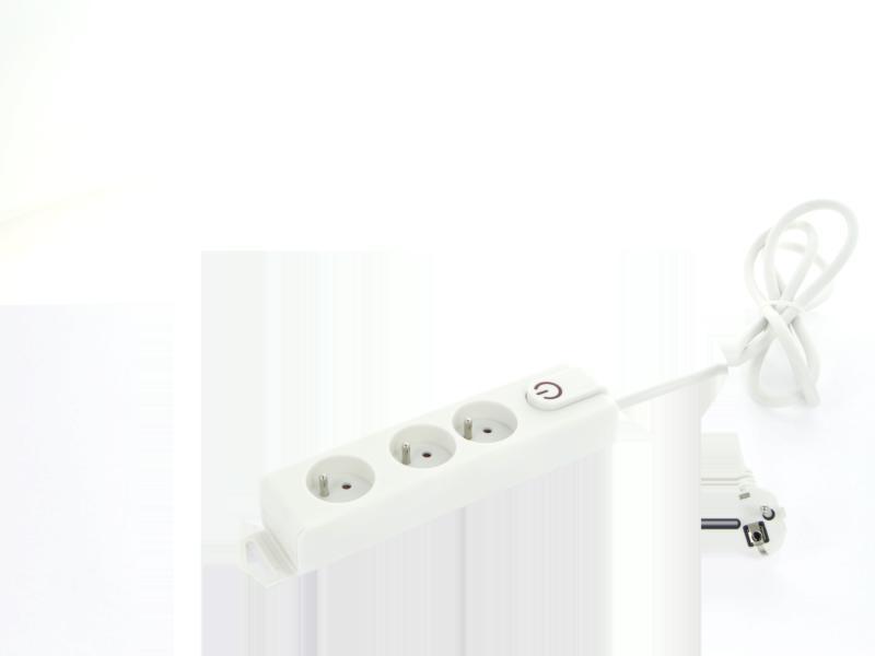 bloc multiprise 3x avec interrupteur et câble 1,5m blanc