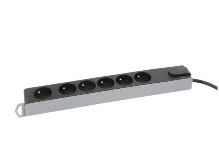 Profile bloc multiprise avec parafoudre 6x avec interrupteur et câble 3m noir