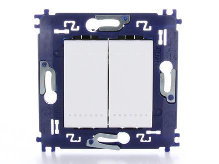 bouton-poussoir unipolaire simple allumage double avec vis blanc