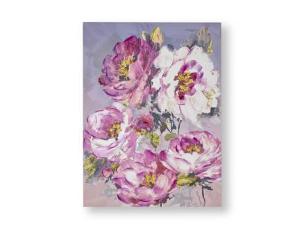 Art for the Home canvasdoek handgeschilderd 60x80 cm bloem roze