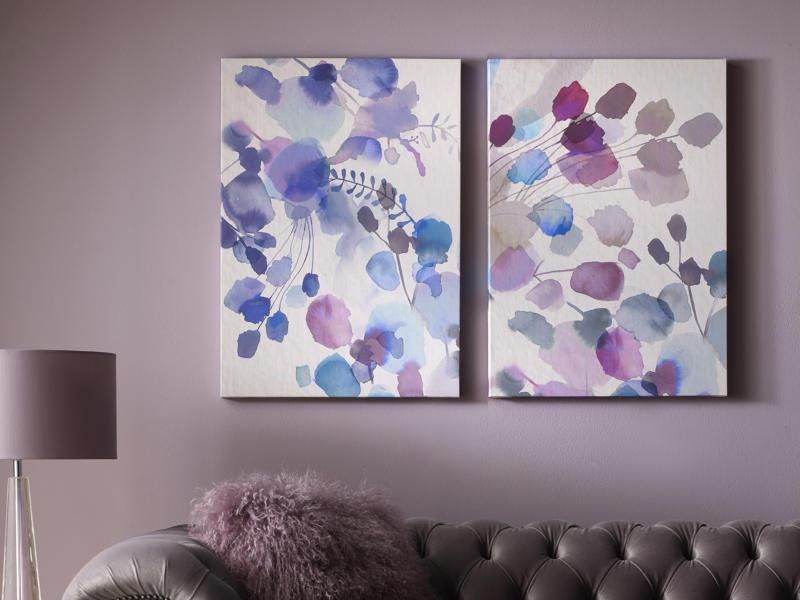 Art for the Home canvasdoek set 100x70 cm bloemen abstract 2 stuks