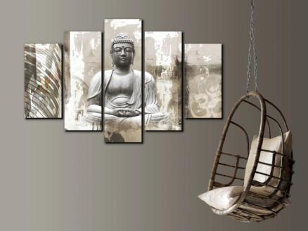 Art for the Home canvasdoek set 150x100 cm boeddha 5 stuks