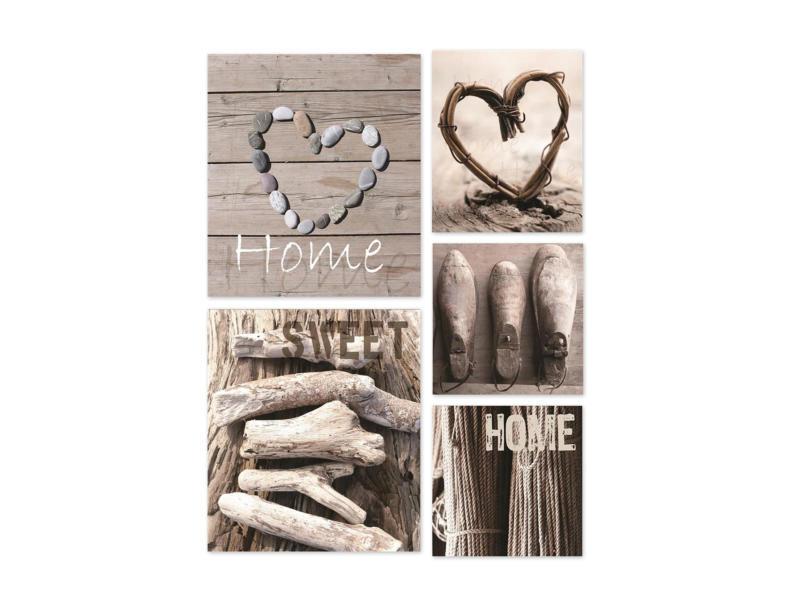 Art for the Home canvasdoek set 60x80 cm home grijs 5 stuks