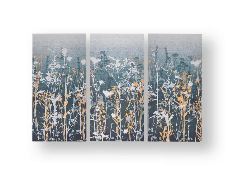 Art for the Home canvasdoek set 90x60 cm bloemen blauw 3 stuks