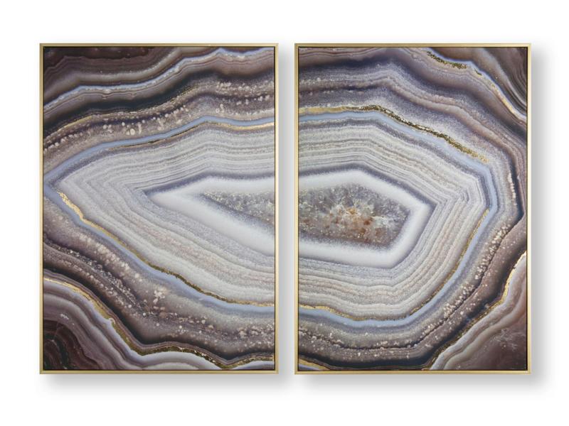 Art for the Home canvasdoek set met kader 100x70 cm edelsteen 2 stuks