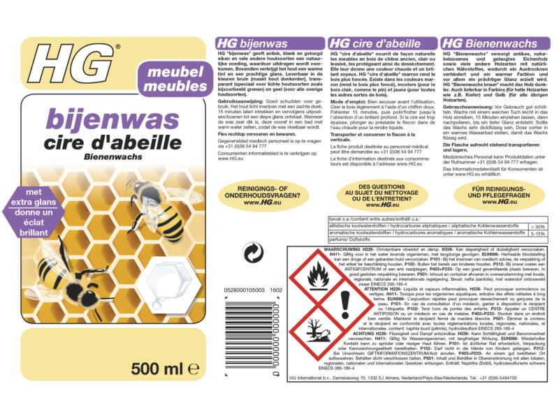 HG cire d'abeille 500ml incolore